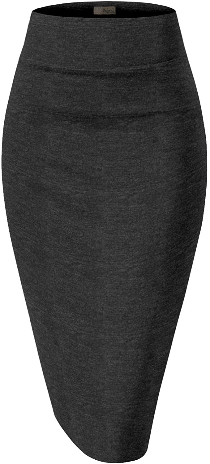 H&C Womens Premium Nylon Ponte Stretch Office Pencil Skirt Made Below Knee Made in The USA