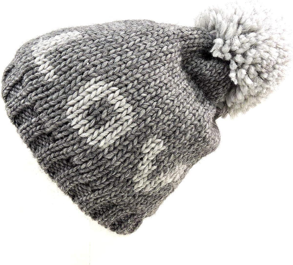 NARDI & TAGLIAFERRI Women's Grey Alpaca Winter Knit HAT with Pompom