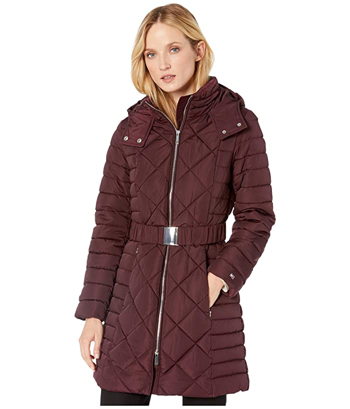Tommy Hilfiger Womens Diamond Quilt with Hood