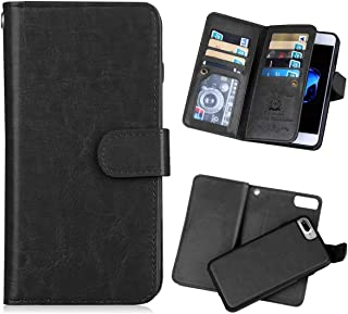 iPhone 7 Plus Wallet Case,iPhone 8 Plus Wallet Case PU Leather Folio Flip 9 Credit Card Slots Cash Holder Magnetic Vintage Book Style Case for iPhone 7plus (Black)