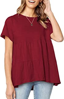 Women's Short Sleeve Flounce Blouse Loose Solid Ruffle High Low Hem Tunic Top Casual Round Neck T Shirt (Wine Red, XL)