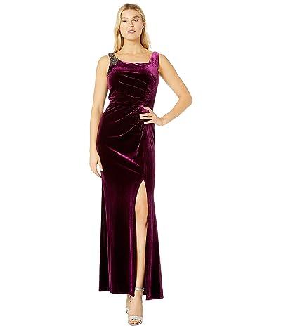 Alex Evenings Long Velvet Dress with Beaded Shoulder Detail (Plum) Women