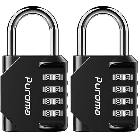 Puroma 2 Pack Combination Lock 4 Digit Outdoor Waterproof Padlock for School Gym Locker, Sports Locker, Fence, Toolbox, Gate, Case, Hasp Storage (Black)