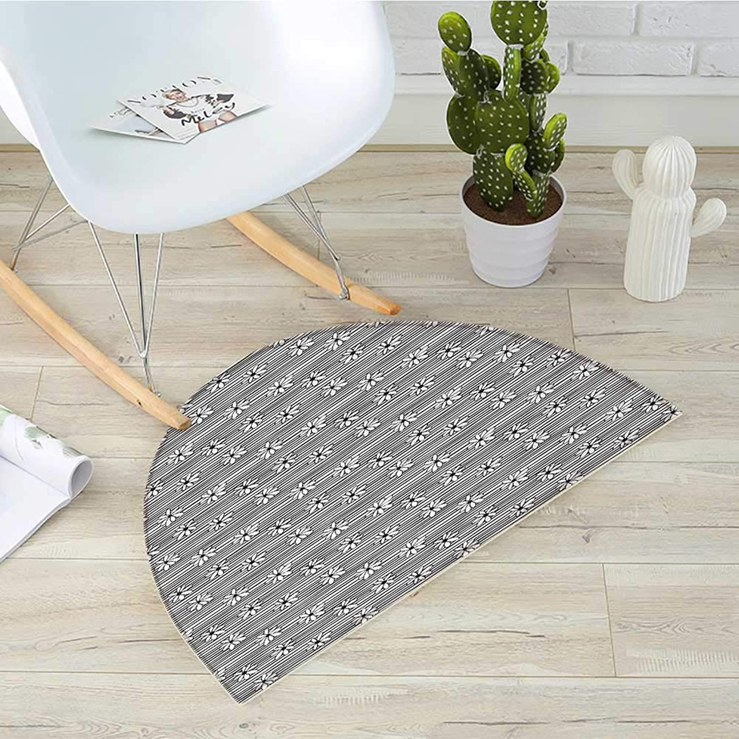 Black and White Semicircle Doormat Horizontal Lines Pattern with Monochrome Flowers Doodle Style Composition Halfmoon doormats H 39.3  xD 59  Black White