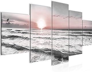 Runa Art - Tableau Le Coucher Du Soleil Plage 200 x 100 cm 5 Parties XXL Decoracion Murale Dessin Gris Rose 023751b
