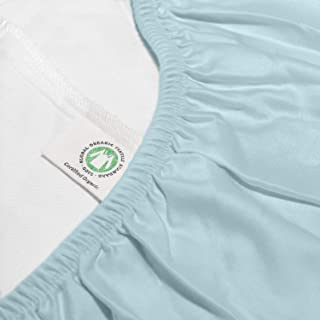 Whisper Organics 100% Organic Cotton Fitted Bed Sheet, 300 Thread Count - GOTS Certified (Queen, Ocean Blue)