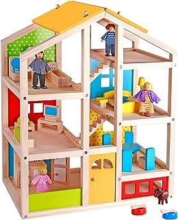 Pidoko Kids Skylar Dollhouse with 20 Pcs Furniture, 5 Dolls and a Pet Dog
