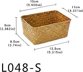 Handmade Straw Weaving Picnic Basket for Toys Fruit Food Stationery Bathroom Desk Kitchen Neatening Sundries Organizer Box,L048S
