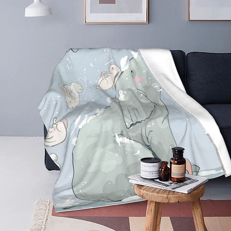 Cute Wibter Elephabt Throw Blanket Bla Comfy Fleece Luxury Flannel Fort Worth Mall Sofa