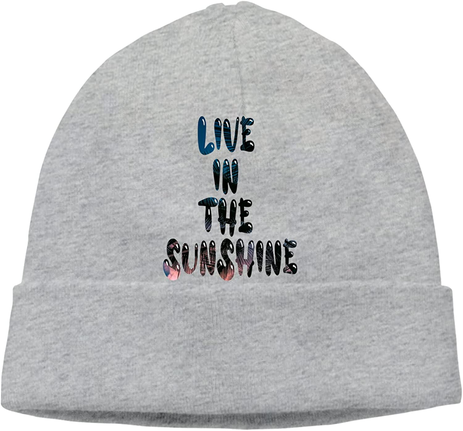 Live in The Sunshine Slogan Unisex Cap Beanie Translated Hats Warm Recommendation Vintage