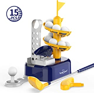 Eagle Stone Kids Golf Toys Set Outdoor Lawn Sport Toy with 15pcs Training Golf Balls & Clubs Equipment, Indoor Exercise Game, Portable Outside Yard Active Gifts for 3 4 5 6 7 8 Year Olds Boys Girls