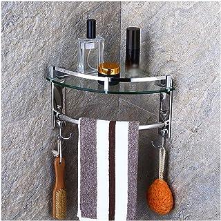 YF-SURINA Rangement organisateur étagère d'angle en verre salle de bain 2 niveaux mural en verre trempé support de douche ...