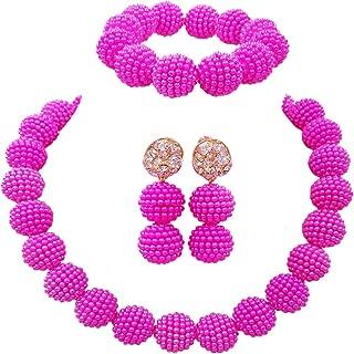 Fashion Women 1 Rows Multicolor Plastic Imitation Pearl Nigerian Wedding Beads African Jewelry Sets