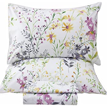 Queen's House Romantic Garden Floral Bed Sheet Set Queen Size-W