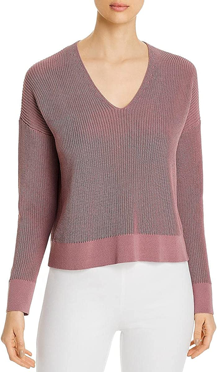 Eileen Fisher Womens Petites Variations V-Neck Textured Crop Sweater