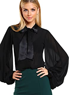 WDIRARA Women`s Sheer Bow Tie Neck Button Satin Chiffon Blouse Top
