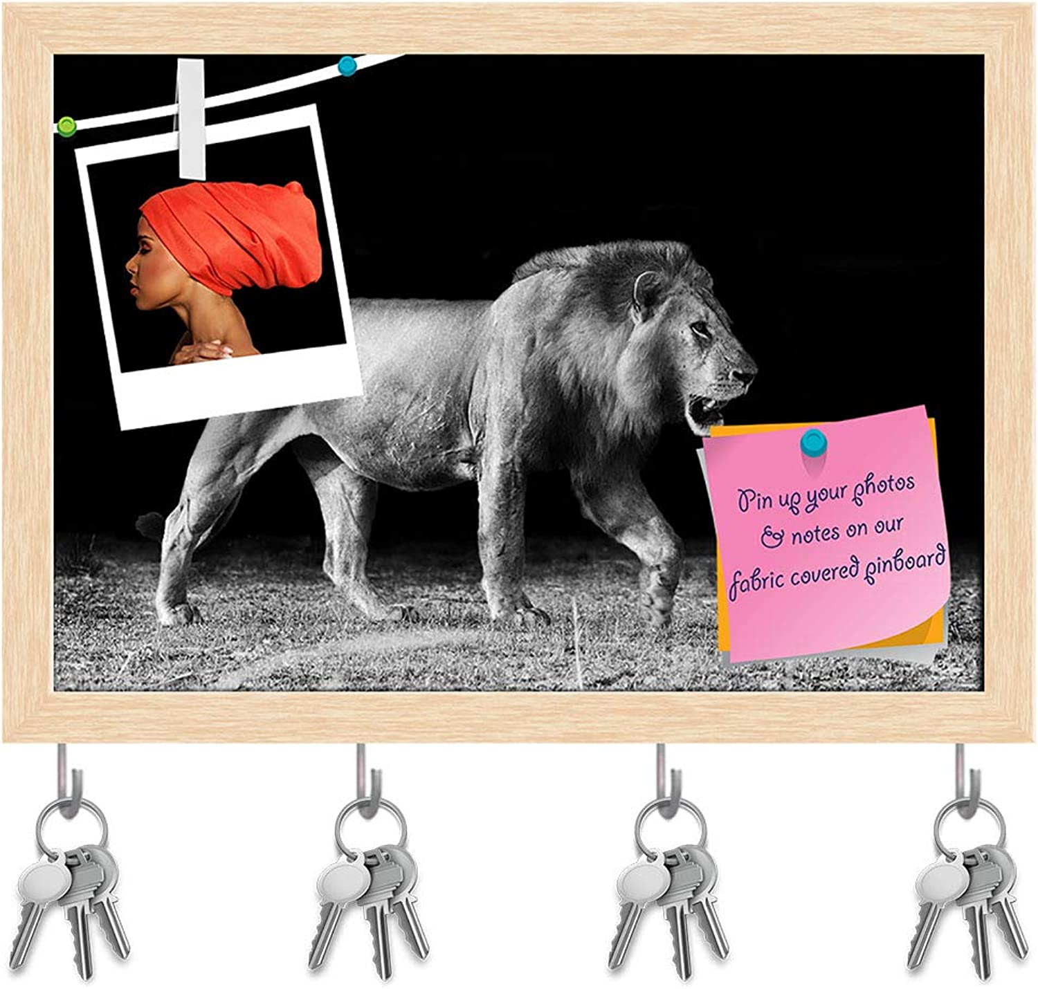 Artzfolio Lion D4 Key Holder Hooks   Notice Pin Board   Natural Brown Frame 14.1 X 10Inch