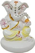 Indian Handicrafts Paradise Lord Ganesha Vinayaka Idol for Car Dashboard, Home Decor, White Marble God Ganesh Ganpati Statue 3.5