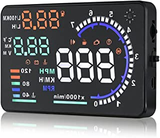 HUD Head Up Display, 5.5'' Universal Car Windshield HUD Head-Up Display A8 Dash Screen Projector OBD II OBD2 Auto Gauge Dash Projector Speedometer