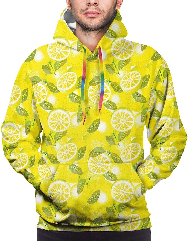 Men's Hoodies Sweatshirts,Fresh Lemon Slices with Leaves Background Soft Summer Tasteful Design
