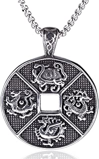JAJAFOOK Ancient 4 Guardian Beast Dragon, White Tiger, Suzaku, Basalt Patron Saint Pendant Men's Amulet Necklace