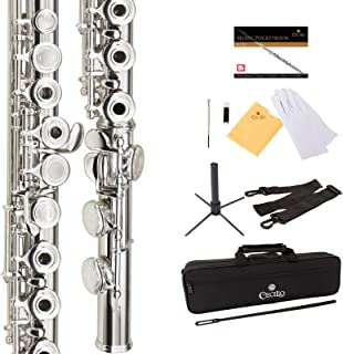 Cecilio Premium Silver Plated Open Hole C Flute with Italian Pads Includes Stand, Pocketbook, Deluxe Case, Warranty, and Accessories