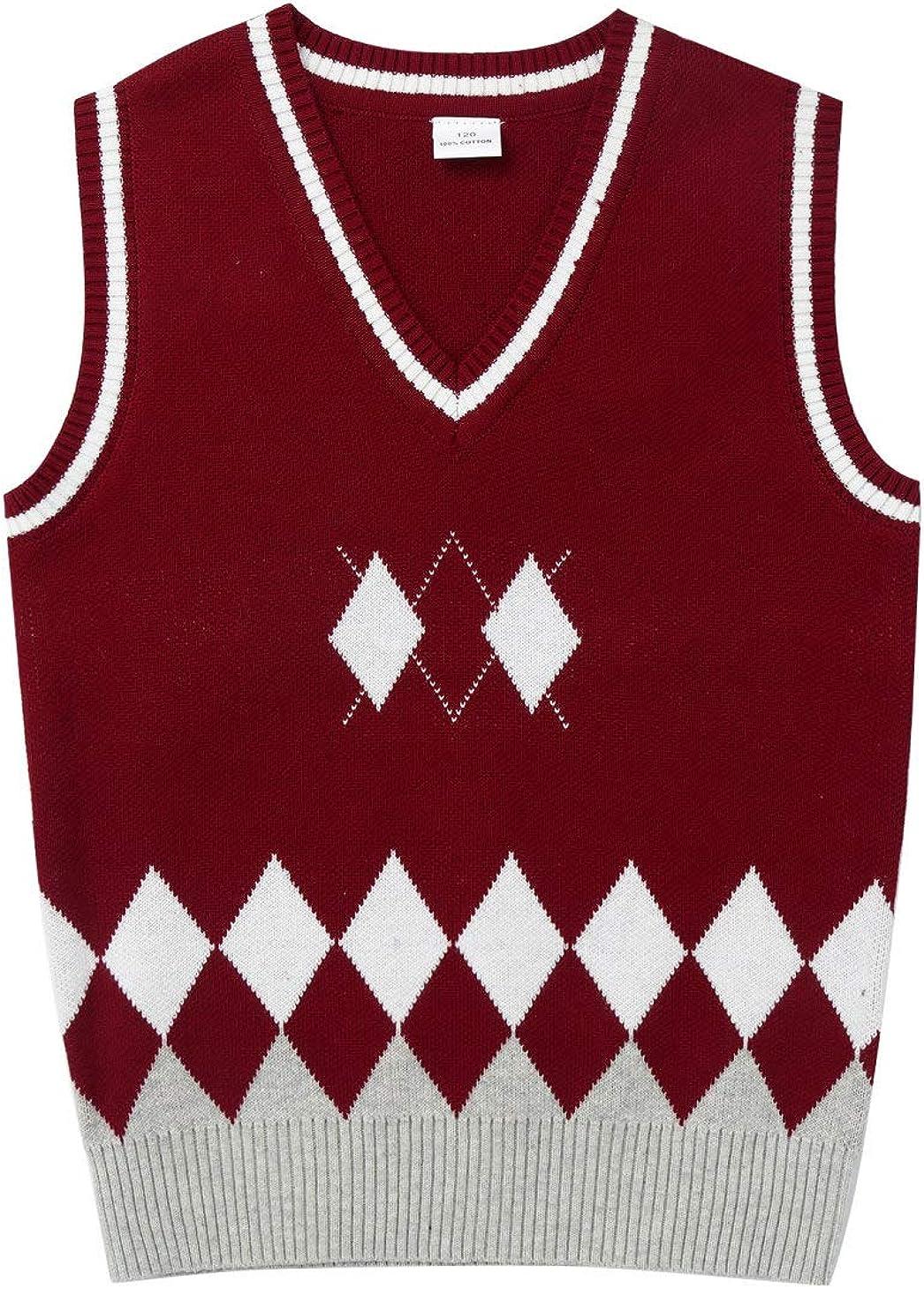 winying Kids Boys Girls Uniform Knitted Vest Cotton V-Neck Crochet Knitwear Sweater Winter Waistcoat
