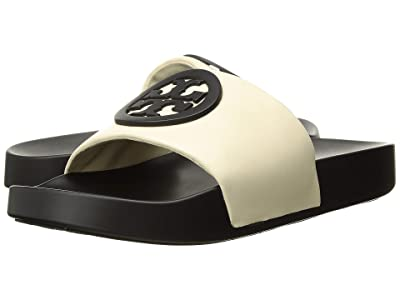 Tory Burch Lina Slide (New Cream/Perfect Black) Women