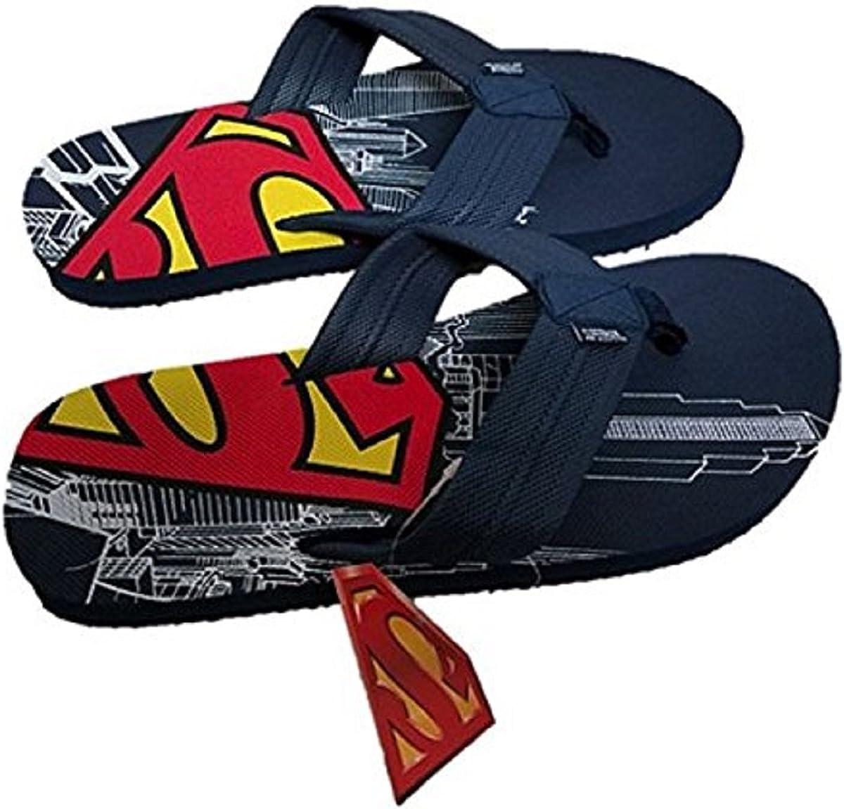 Superman Men's Comic Flip Flop Sandal Navy