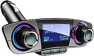 FMトランスミッター ブルートゥース 車載用 Bluetoothレシーバー 音楽 高音質 ハンズフリー通話 無線 USB充電ポート iPhone適用 Android適用 AUX TFカード Uディスク音楽再生