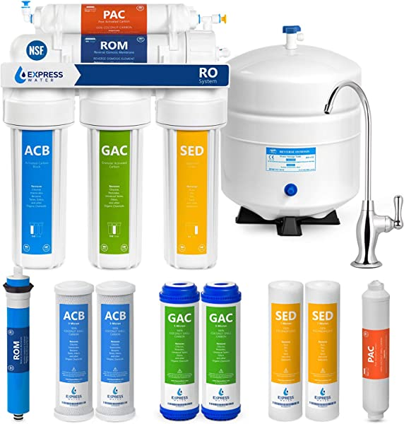 Express Water Reverse Osmosis Water Filtration System NSF Certified 5 Stage RO Water Purifier With Faucet And Tank Under Sink Water Filter Plus 4 Replacement Filters 50 GPD