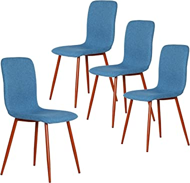 Coavas Dining Chairs Set of 4, Modern Kitchen Chairs with Fabric Cushion Seat Back, Mid Century Living Room Side Chairs with Brown Metal Legs for Kitchen Dining Room, Blue