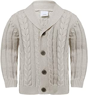 Aiihoo Infant Baby Boys Lapel Neckline Knit Warm Cardigan Sweater with Buttons for Fall Winter Outfits