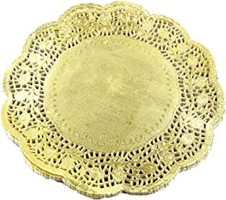 LoBake 100 pieces 10.5 inches gold foil round paper lace doilies cupcake placemats kitchen tabletop accessories