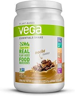 Vega Essentials Shake Mocha(18 Servings, 1 lb 6 oz) - Plant Based Vegan Protein Powder, Non Dairy, Gluten Free, Smooth and Creamy, Non GMO