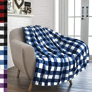 PAVILIA Flannel Fleece Throw Blanket for Sofa Couch   Super Soft Velvet Plaid Pattern Checkered Decorative Throw   Warm Cozy Lightweight Microfiber   50 x 60 Inches Checker Navy/White