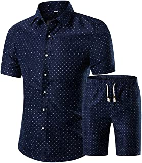 Men Casual Short Sleeve Shirt and Shorts Printed 2 Pieces Set Outfits