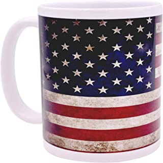 Patriotic USA Flag Coffee Mug Novelty Cup Gift America Rustic Tattered Distressed United States of America