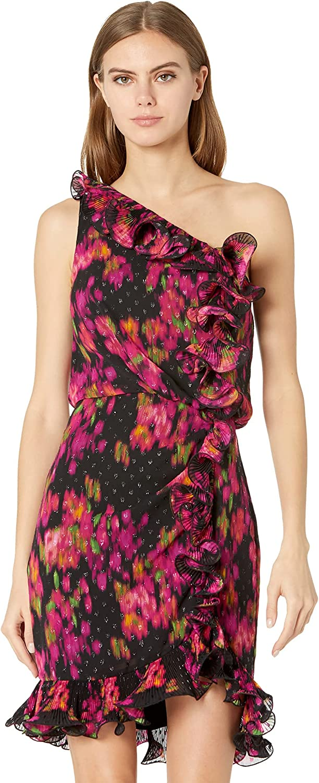 BCBG Printed One Shoulder Cocktail Dress
