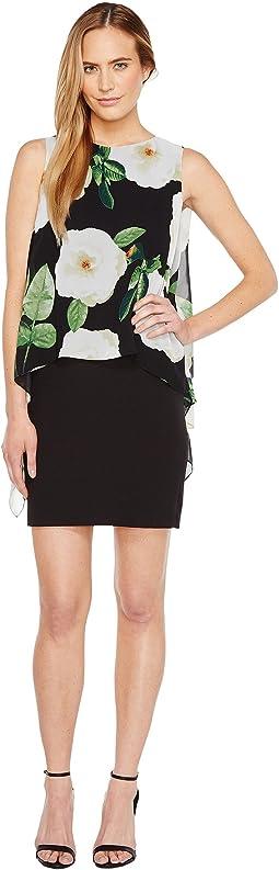 Floral Overlay Sheath Dress