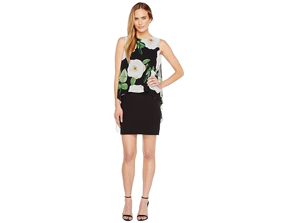 Tahari by ASL Floral Overlay Sheath Dress (Black/Ivory/Green) Women