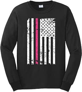 Cybertela Men's Thin Pink Line American Flag Long Sleeve T-Shirt