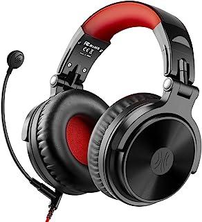 Auriculares Bluetooth sobre la oreja con 80 horas de tiempo de reproducción, OneOdio Auriculares estéreo con cable con micrófono Boom para PS4, Xbox One, PC, auriculares inalámbricos para teléfonos, portátiles, oficina, estudio inalámbrico (Y80B) (rojo)