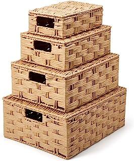 EZOWare Panier de Rangement en Corde de Papier Tressé avec Poignées et Couvercle, Paniers Décoratifs, Boîte de Rangement, ...