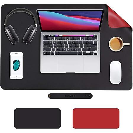 SOJITAS Tapete para Mouse de Piel Sintética 600*400*2 MM, Mousepad para Oficina Accesorios para Escritorio, Alfombrilla Impermeable con Doble Cara (600*400*2 MM, Negro - Rojo Vino)