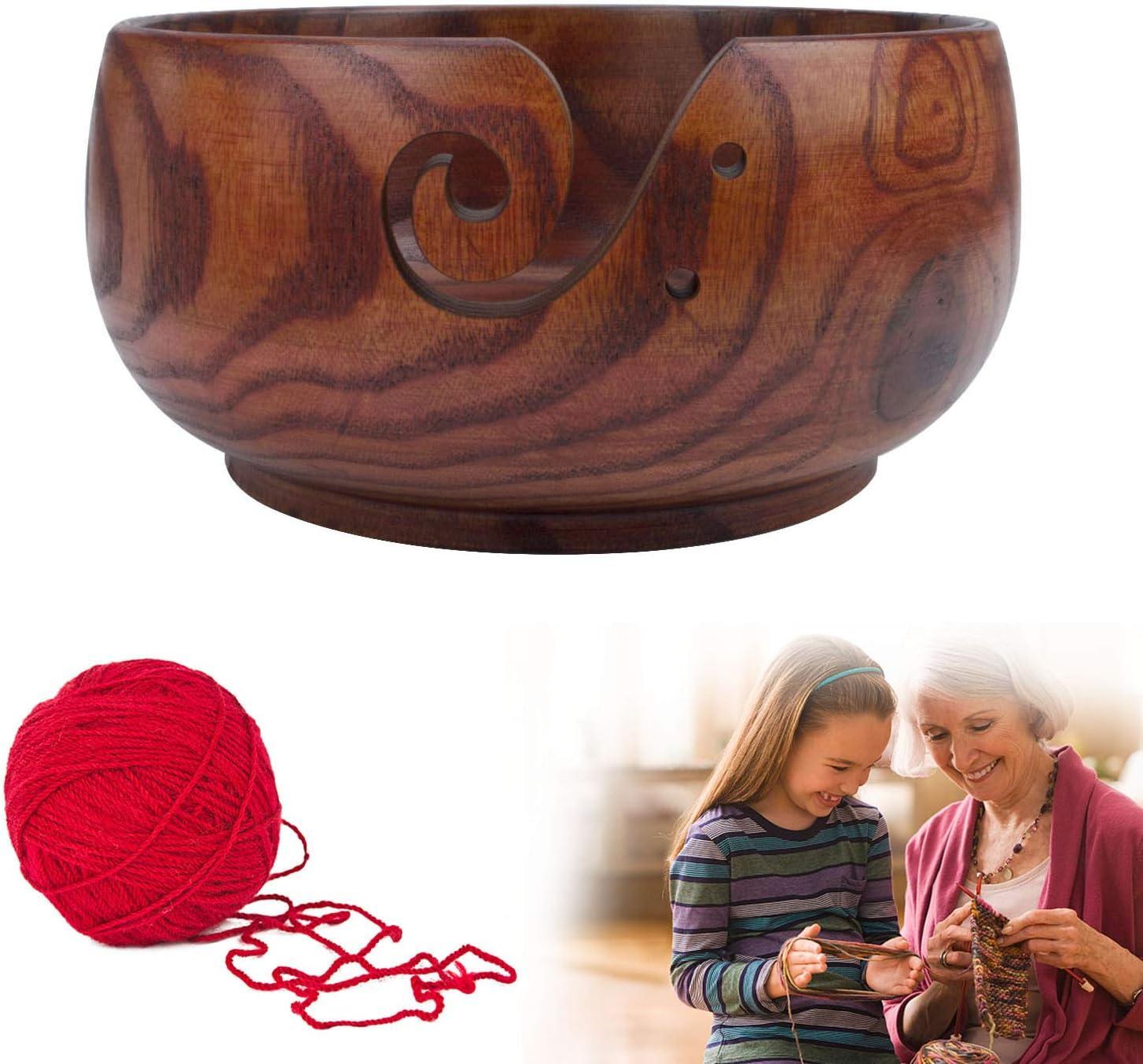 Wooden Yarn Bowl Knitting 2021 Wool with Max 56% OFF Hol Basket Handmade Storage