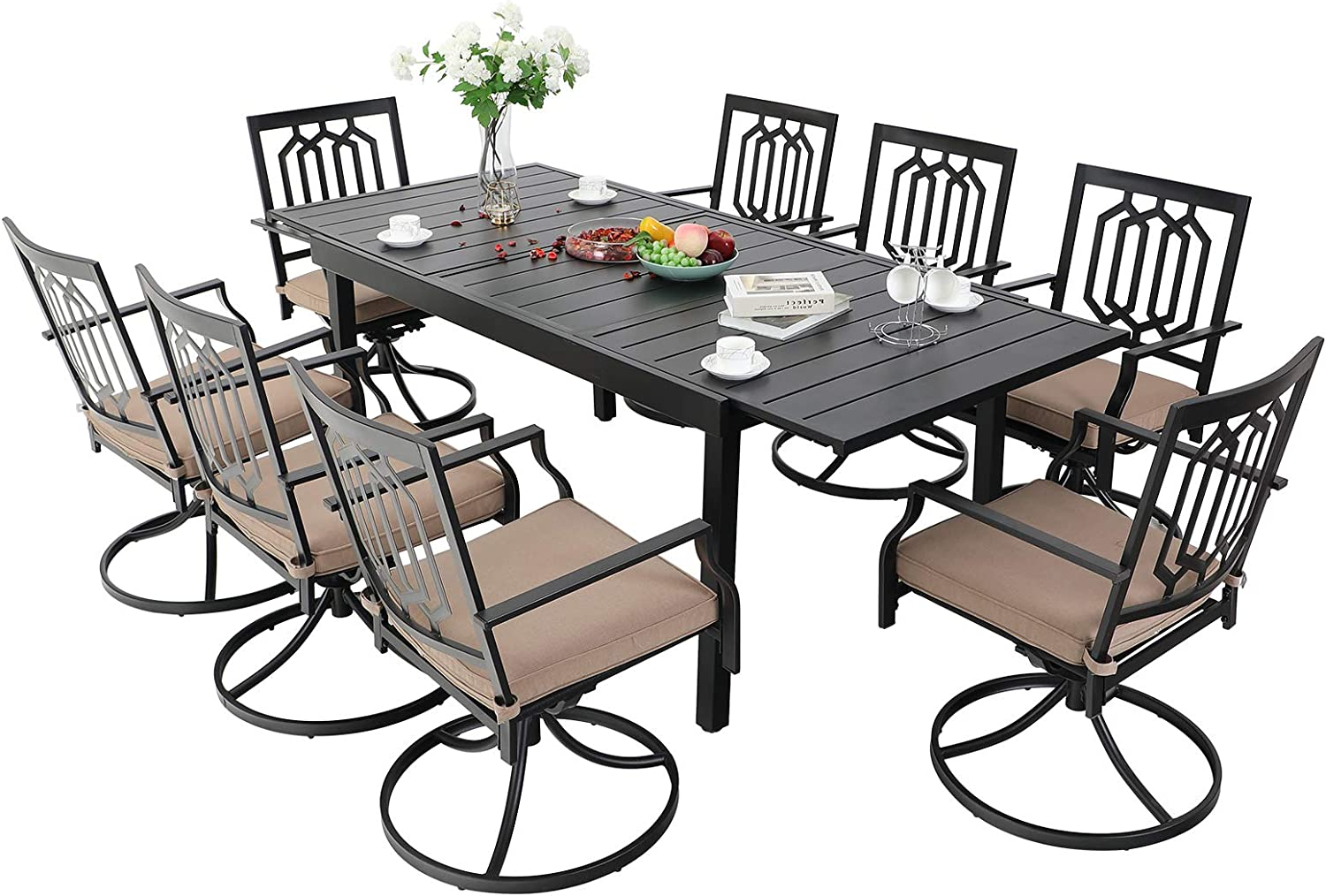 MFSTUDIO 9PCS Patio Dining Set, Large Black Rectangular Expandable Table with 8 Swivel Chairs, Outdoor Indoor Metal Furniture Set with Removable Cushions for Poolside, Porch, Backyard, Lawn, Garden
