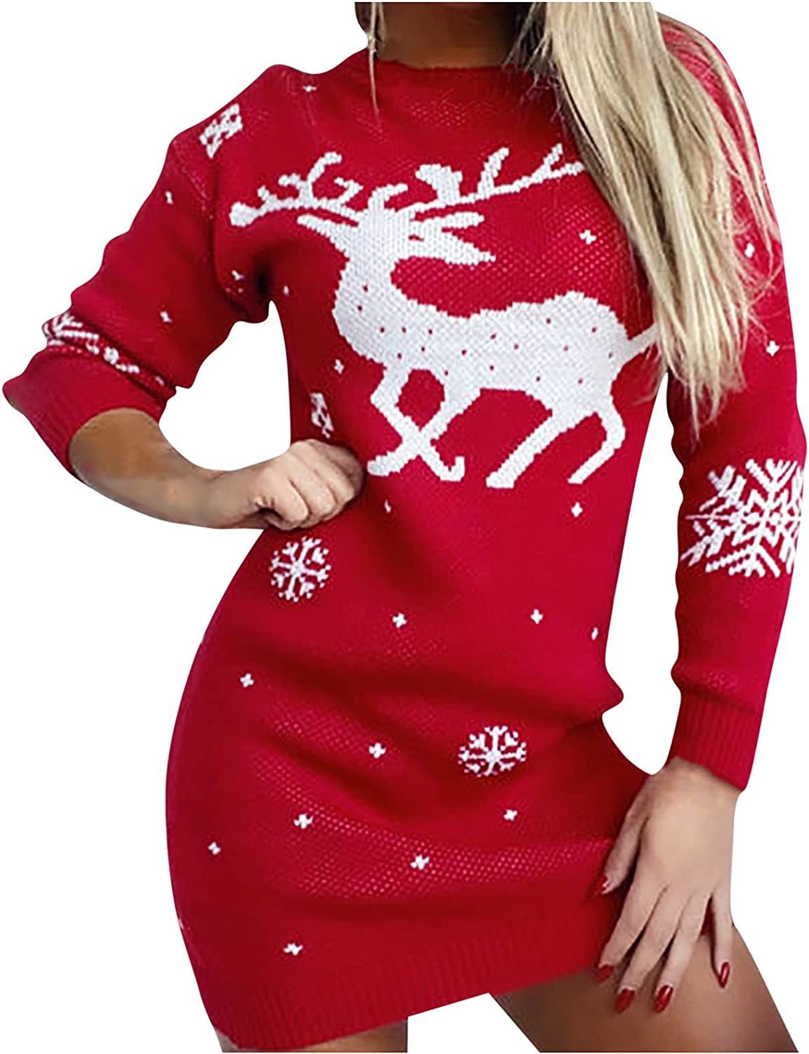 RFNIU Womens Christmas Sweater Dress Fashion Graphic Baggy Long Sleeve Knit Jumper Sweaters Casual Crewneck Blouses Tops