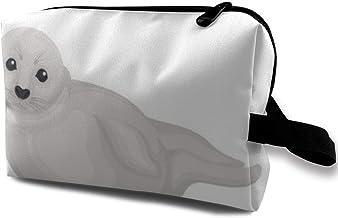 Bolsa de maquillaje para cosméticos, adorable, con sello gris, ojos brillantes, ártico, multifuncional, bolsa de viaje, bolsa de almacenamiento