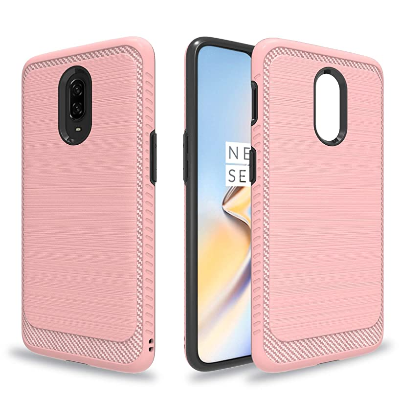 Ayoo for:One Plus 6T Case,One Plus 6T Phone Case,[Drop Protection] Brushed Texture Full-Body Shockproof Protective Cover Design for One Plus 6T-HLS Rose Gold